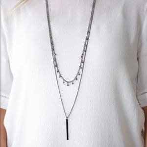 Black Gunmetal Pendulum Necklace Earring NWT